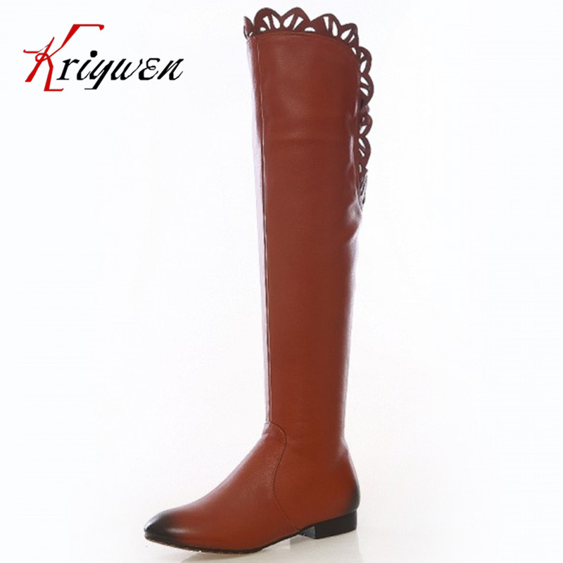 ФОТО Hot sale 2015winter Women's Over the Knee Boots solid thin long Boots Fashion boots genuine leather Women work flat heels Shoes