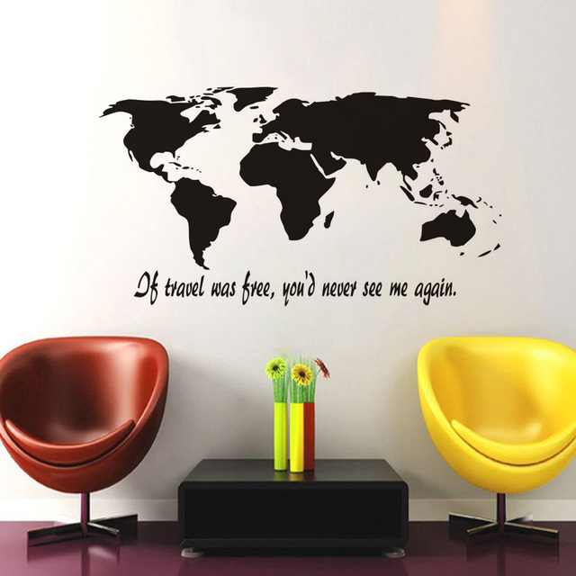 If travel was free world map silhouette wall art decal sticker removable vinyl transfer stencil graphics
