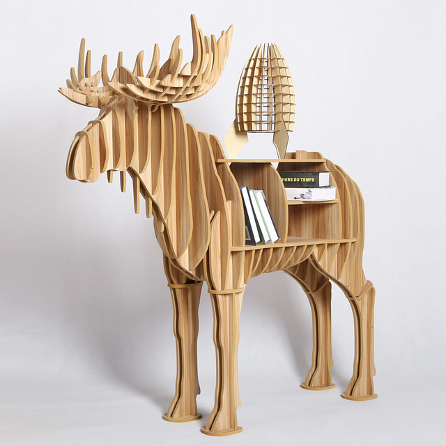 1 Set 2016 New Art Wooden Desk Furniture Creative Moose Bookshelf Wood Crafts For Home