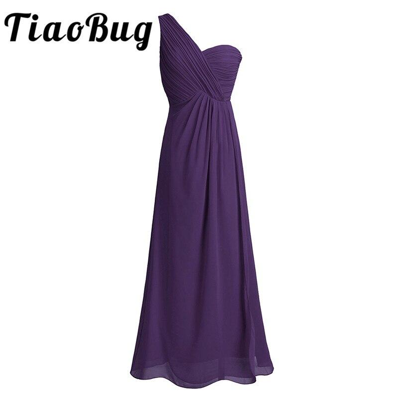 TiaoBug New Arrival One Shoulder Teal Pink Dark Purple Wine Red Navy Blue Long Chiffon Pleated Split Slit Bridesmaid Maxi Dress