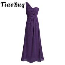 TiaoBug yeni varış bir omuz Teal pembe koyu mor şarap kırmızı lacivert uzun şifon pileli bölünmüş yarık nedime Maxi elbise