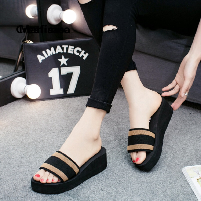 Pantoufles Femmes Women Fashion Sweet Light Weight Height Increased Slippers Lady Casual Summer Slippers Cool Slides G5248