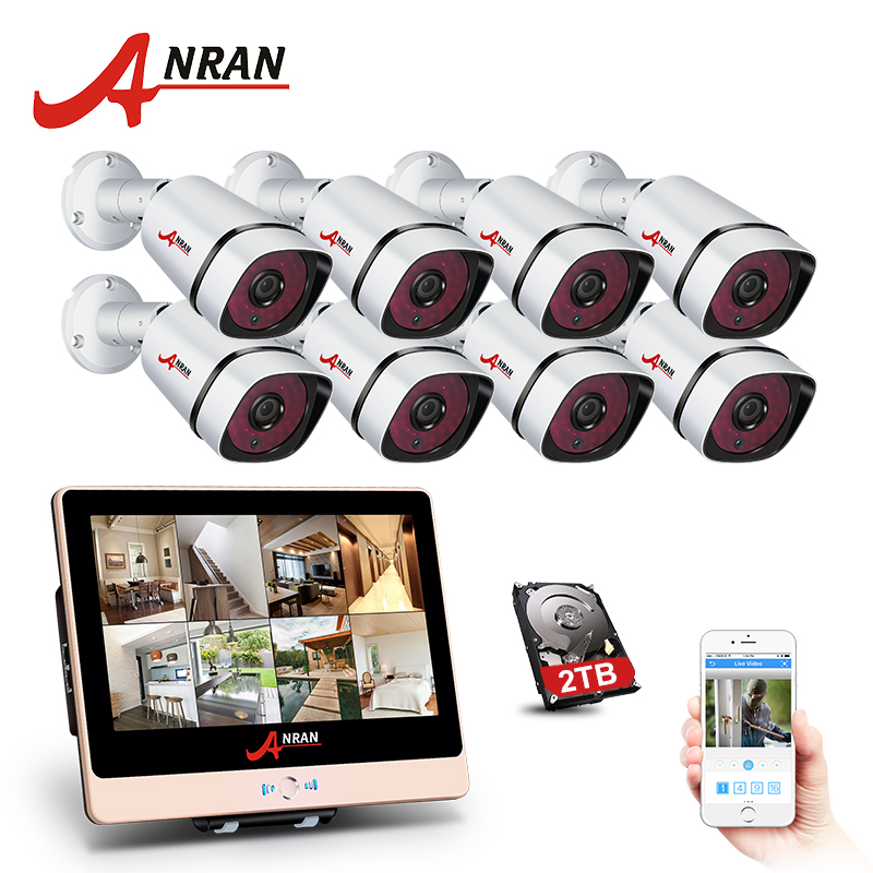 ANRAN New Arrival! 8CH Plug And Play 2.0MP POE NVR CCTV Kit+12LCD&1080P HD Outdoor+Indoo ...