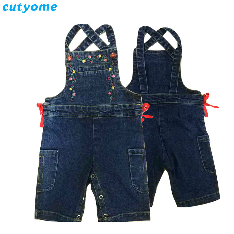 Cutyome Newborn Baby Girls Boys Denim Rompers Sleeveless Toddler Infant Jeans Jumpsuits With Bow Kids Cotton Jumper Overalls