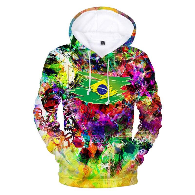 Hip Hop Men Women Tie Dye Style Hoodie Brazil Flag Printed Men Hooded Sweatshirt Fashion Men Hipster Skateboard Hoodie Tops