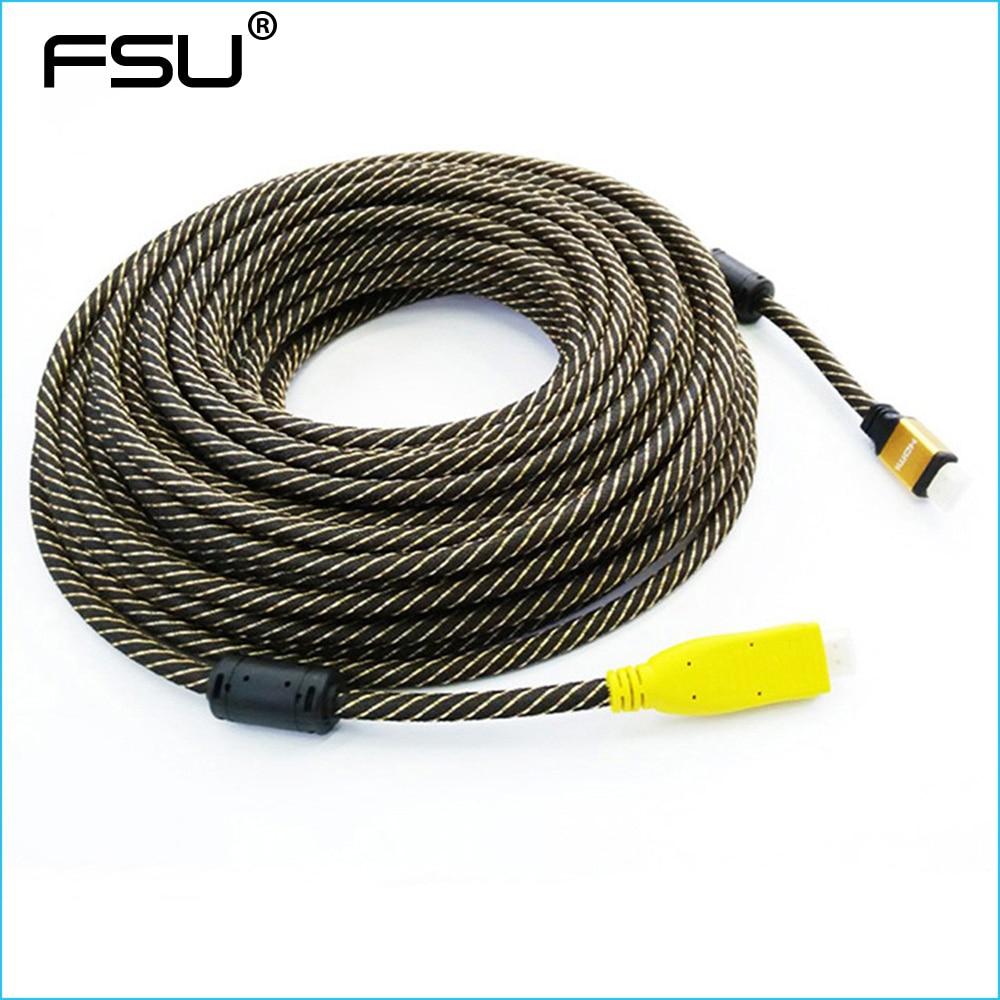 Free Shipping Nylon Braided Gold Plated HDMI Cable Male to Male Built-in IC  V1.4 1080P 3D HDTV 25M 30M 35M 40M 45M 50M 60M 70M gold plated nylon mesh braided slim hdmi cable pure copper v1 4 hdmi male to male super speed 1080p 3d 1m 1 8m 3m 5m 10m 15m