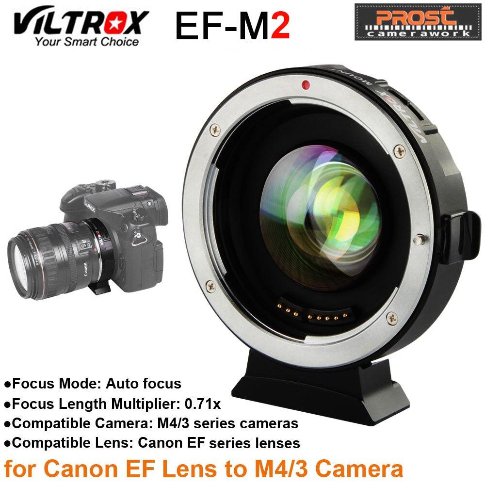Viltrox EF-M2 AF Auto-foco EXIF 0.71X Reduzir Lente Adaptador Reforço Velocidade Turbo para a lente Canon EF para M43 Câmera GH4 GH5 GF6 GF1
