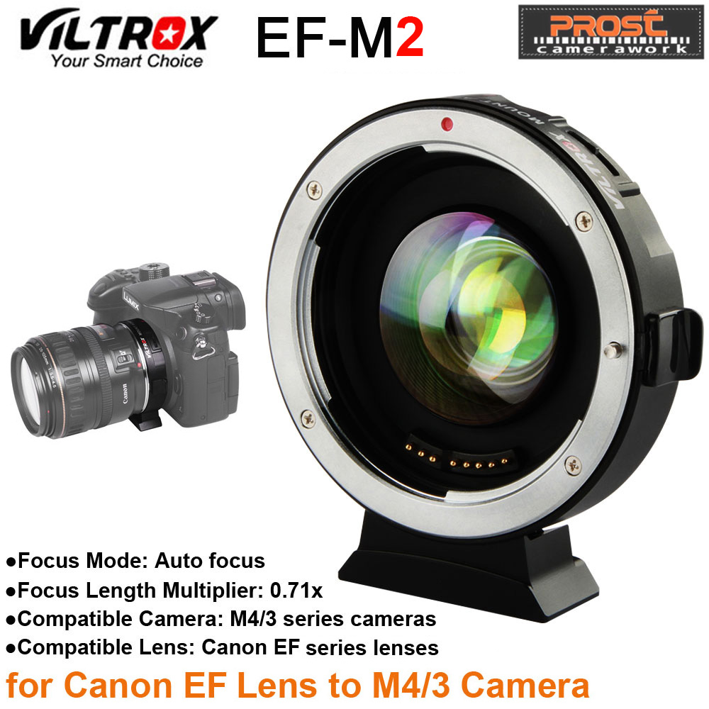 Viltrox EF-M2 AF Auto-focus EXIF 0.71X Reduce Speed Booster Lens Adapter Turbo for Canon EF lens to M43 Camera GH4 GH5 GF6 GF1 мт mt gravity