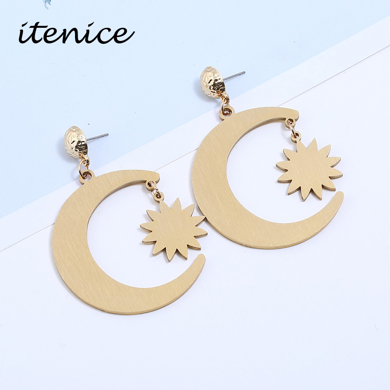 Itenice Fashion Newest Aluminium Alloy Star Moon Earrings Charming Earrings for Women 2018 Star Popular Jewelry Brincos Decorate