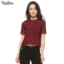 Vadim women cute lace crop tops short sleeve casual o neck b