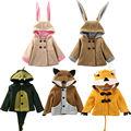 Fashion Winter Children Coat Lovely Kids Baby Girls Boys Rabbit Bunny Fox Hooded Coat Jacket Outwear Overcoat