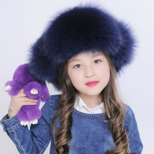 Children fur hat autumn winter cap for grils genuine fox fur Russian black white earflap bomber fur trapper hat H236