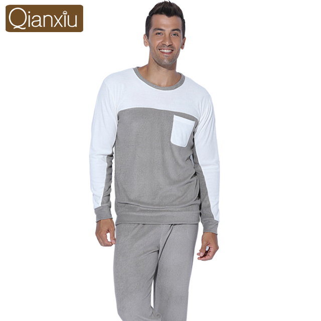 Qianxiu pijama os homens pijama definido para amantes Fashional Patchwork Kintted mulheres Homewear