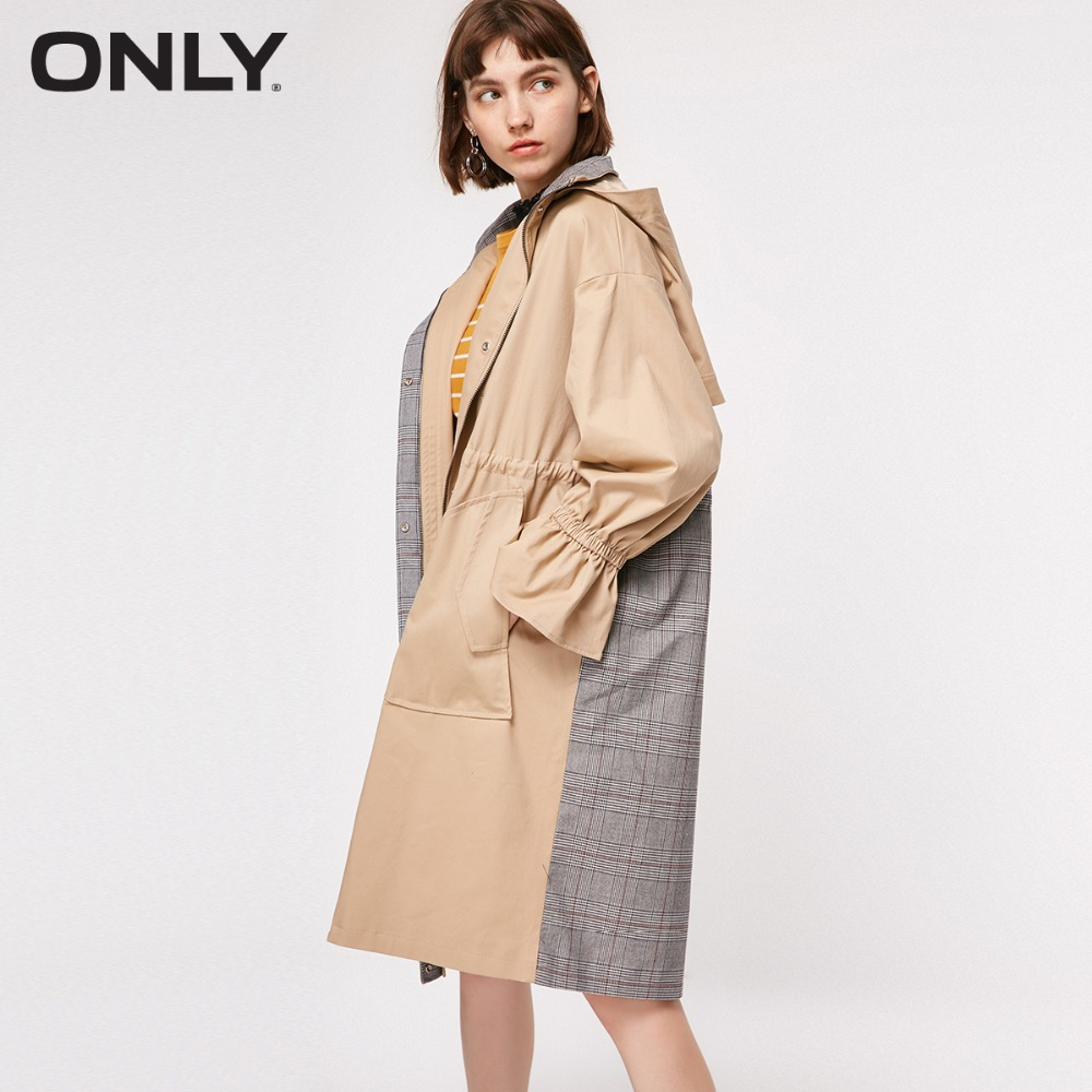 ONLY Women's Autumn New Plaid Stitching Hooded Trench Coat | 118336580