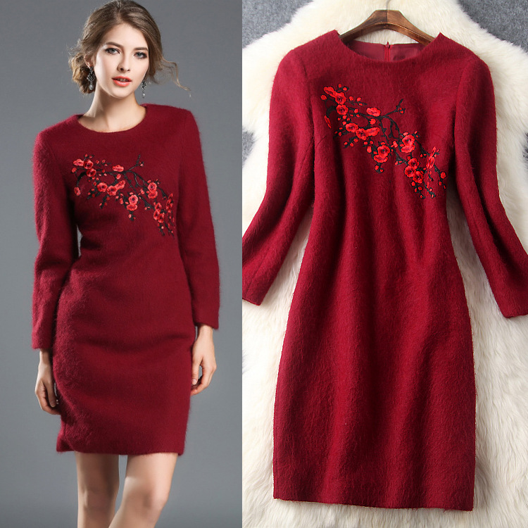 2017冬の女性の新しいヘビー冬服刺繍レディース気質plumモヘアドレス(