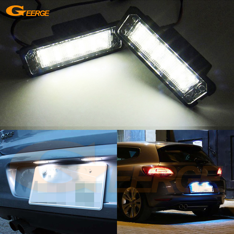 For Volkswagen VW Golf 7 Mk7 tsi tdi gti 2012 2013 2014 2015 Excellent 18 smd 3528 Led License plate light No OBC error cawanerl car 2835 smd canbus interior dome map trunk license plate glove box light led kit white for vw volkswagen golf 6 gti