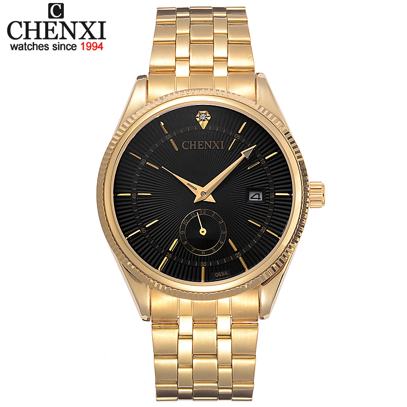цена на CHENXI Gold Watch Men Watches Top Brand Luxury Famous Wristwatch Male Clock Golden Quartz Wrist Watch Calendar Relogio Masculino