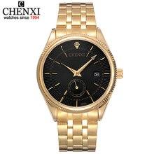 Золотые часы CHENXI для мужчин часы лучший бренд класса люкс известный наручные часы мужской золотой кварцевые наручные часы календари Relogio Masculino