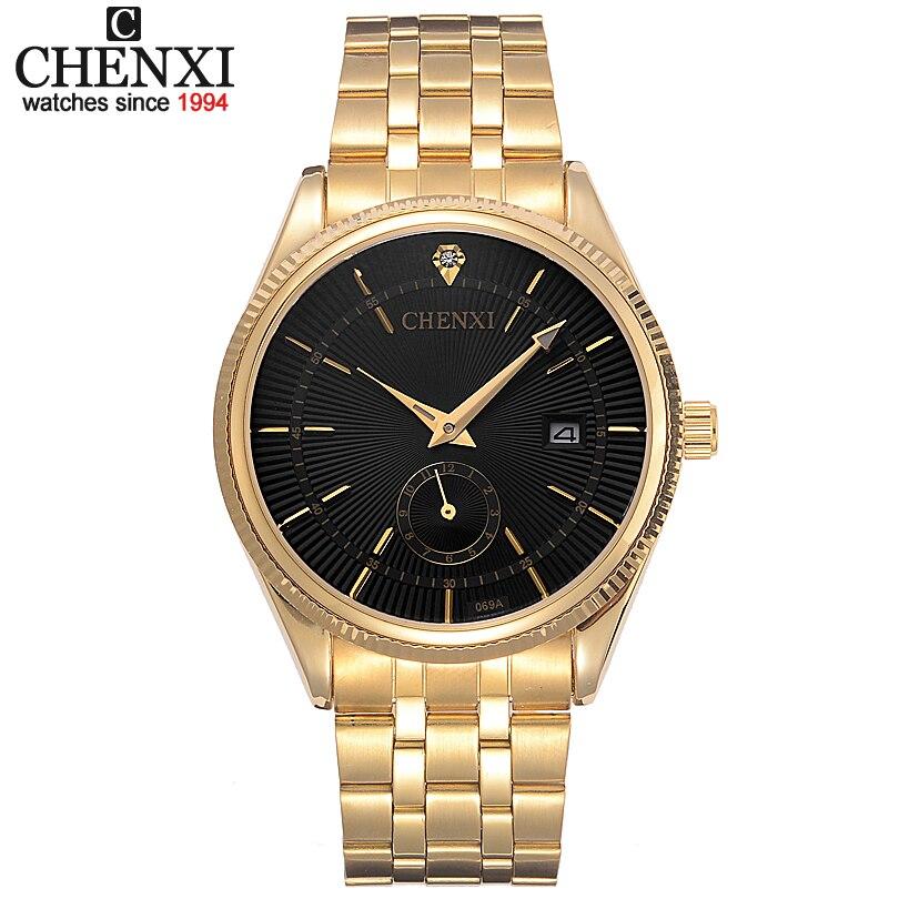 CHENXI Montre En Or Hommes Montres Top Marque De Luxe Célèbre Montre-Bracelet Homme Horloge D'or Quartz Montre-Bracelet Calendrier Relogio Masculino