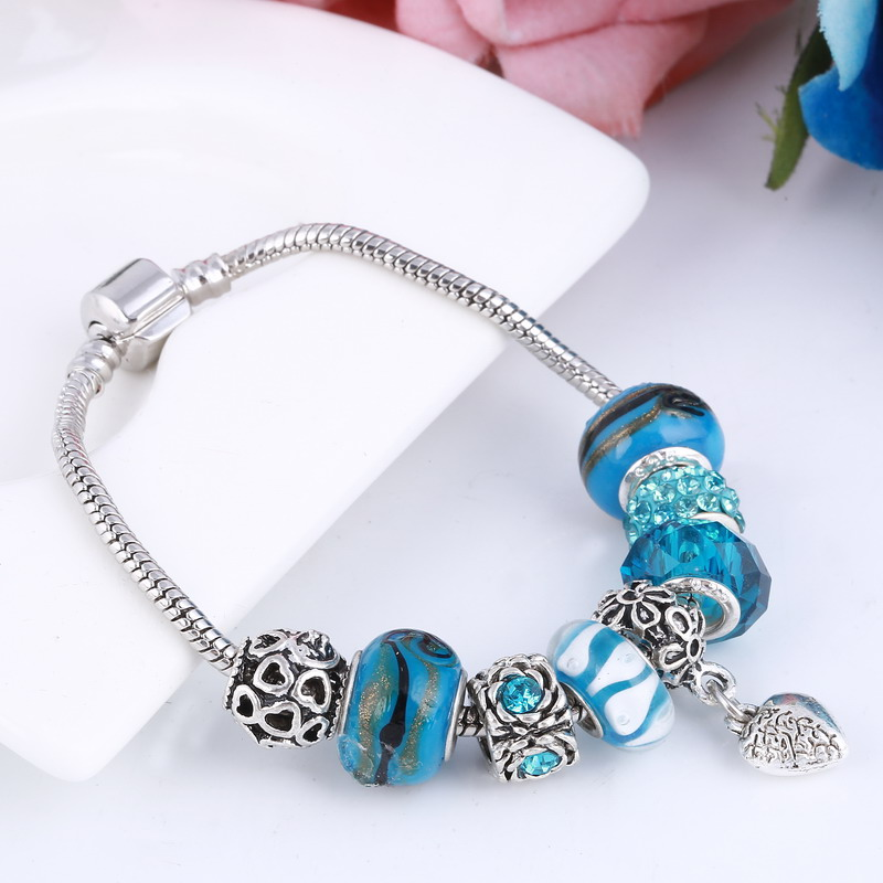 Lovely Women Girl Silver Plated Bracelet Murano Glass Bead Crystal New Pink Ribbon Charm Bracelets & Bangles Ladies jewelry