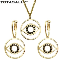 TOTASALLY Brand Fashion black immitation stone eye Pendants Necklaces For Women Collar party Jewelry Bijoux