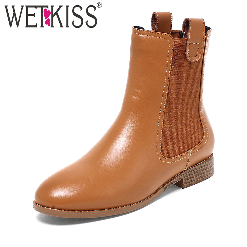 WETKISS High Quality Chelsea Ankle Boots Genuine Leather Women's Winter Boots Spring Slip On Ladies Shoes Woman Square Heels farvarwo formal retro buckle chelsea boots mens genuine leather flat round toe ankle slip on boot black kanye west winter shoes