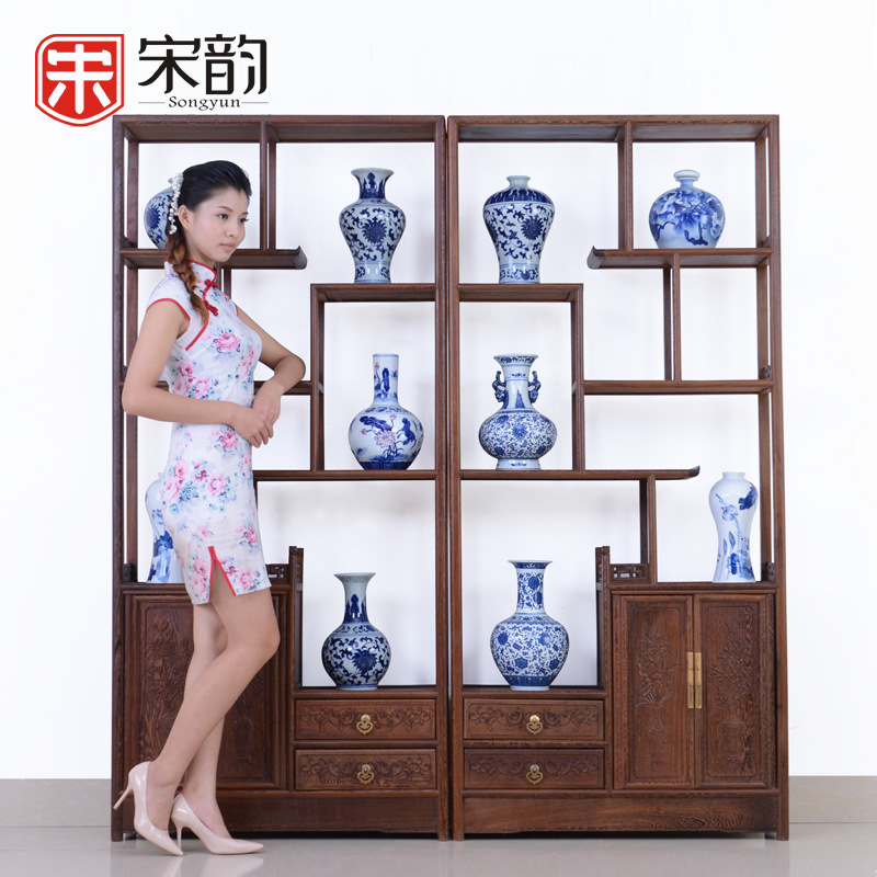 Song Yun Chinese Antique Mahogany Furniture Shelf Display Rack Antique Wood Partition Frame