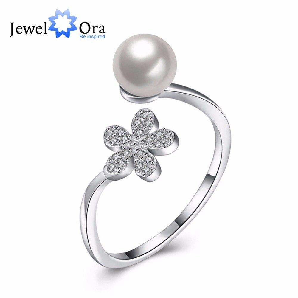 39678d4238ec Simulado perla joyas garantía 925 Plata anillo zirconia cúbico ajustable Anillos  para las mujeres (jewelora ri102200)