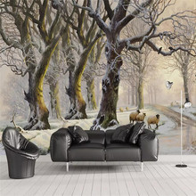 цена на Wallpaper mural living room tv background wall home interior art design beautiful snow forest big tree sheep background wall