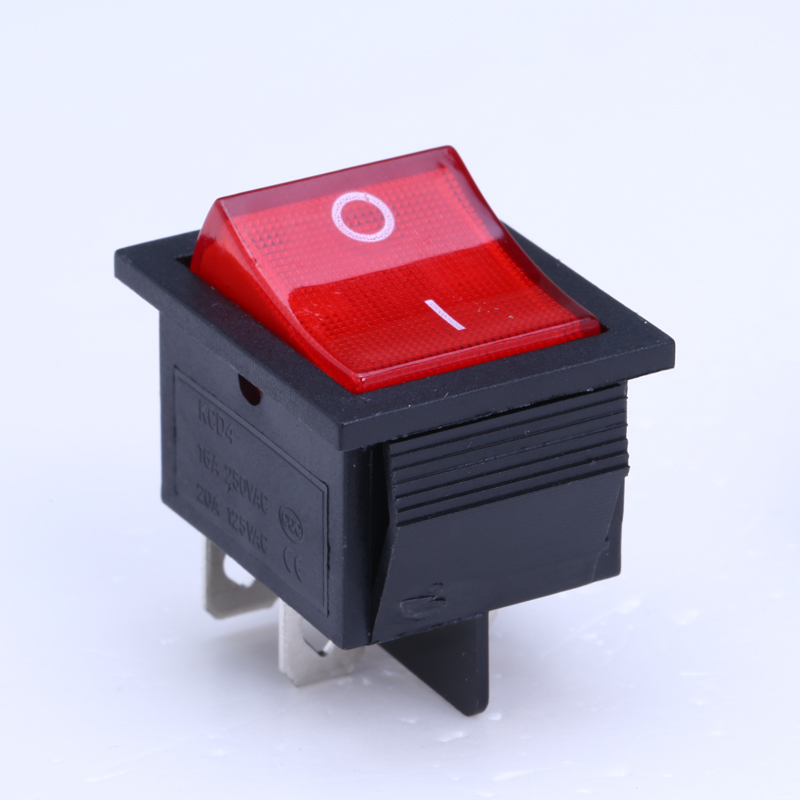HOT 10Pcs/lot KCD4-201N Boat Rocker Switch 4 Pin On-Off  With  Red Light or Green Light 16A 250VAC 2pcs lot red 4 pin light on off boat button switch 250v 15a ac amp 125v 20a p25