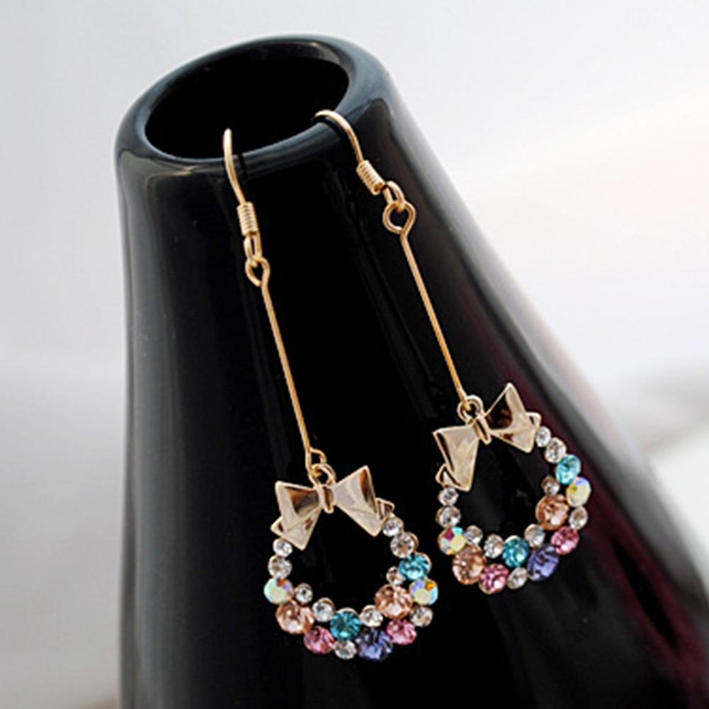 Multi-color Bowknot Jewelry Rhinestone Eardrop Long Drop Dangle Tassel Earrings