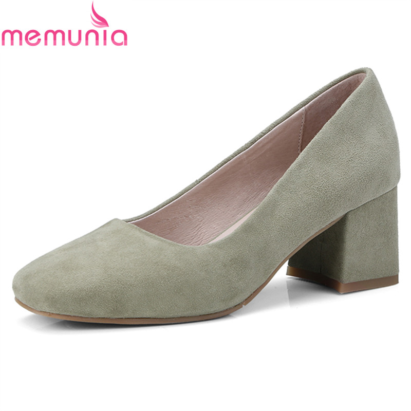 MEMUNIA 2018 fashion hot sale genuine leather women pumps thick high heels square toe concise party shoes spring autumn siketu 2017 free shipping spring and autumn women shoes fashion sex high heels shoes red wedding shoes pumps g107