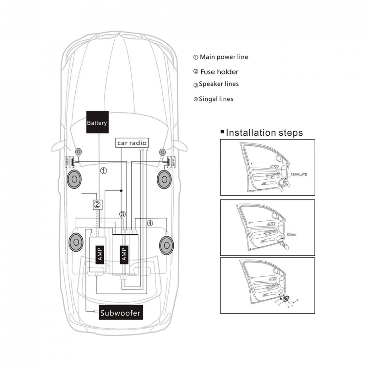 alto falante para carro e sistema de áudio, par set 150w durável