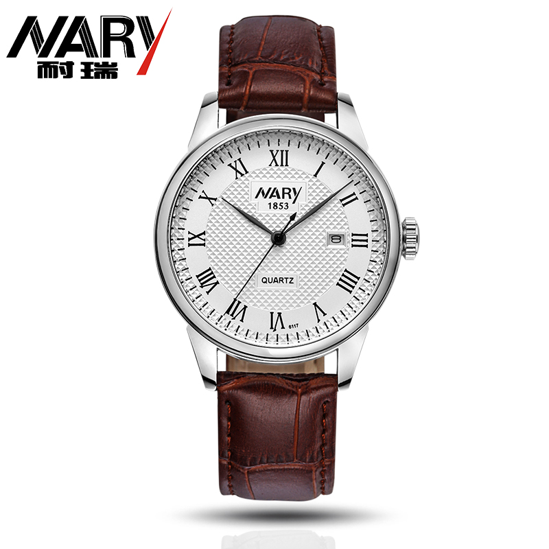 где купить Luxury NARY Brand Watch Men Watch Leather Strap Fashion WristWatch High-grade Business Quartz Watch Clock Relogio Masculino по лучшей цене