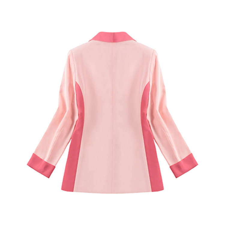 Fall 2019 New Star With A Pink Patchwork Suit Slim Women Jackets And Coats Button Notched Double Breasted Patchwork Suit Women