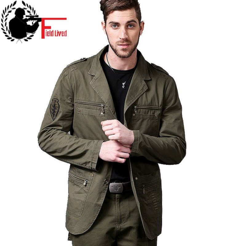 military style jacket men cotton german army uniform clothing casual tactical blazer male fashion multi pockets zipper patchwork