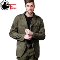 military style jacket men cotton german army uniform clothing casual tactical blazer male fashion multi pockets zipper patchwork
