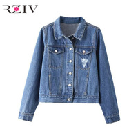 RZIV 2017 Fall Women Casual Jacket Solid Color Pocket Decoration Denim Jacket Hole
