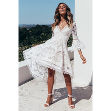 Ordifree 2019 Summer Women Long Beach Dress Elegant Lady Party Dress Asymmetrical Crochet White Lace