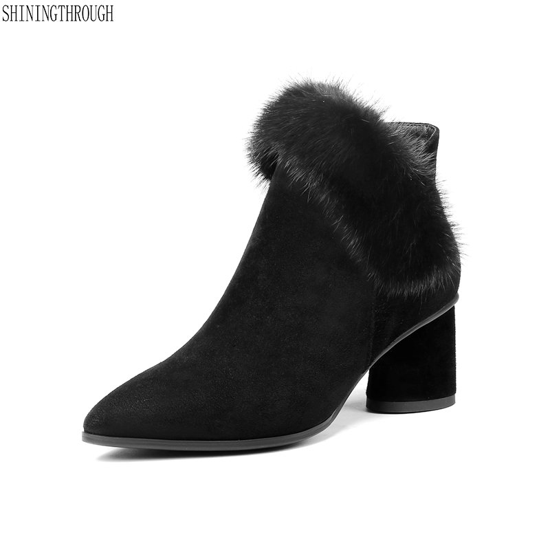 New genuine leather ankle boots woman pointed toe rouned heels boots sexy fur women boots ladies shoes black large size 42 цены онлайн