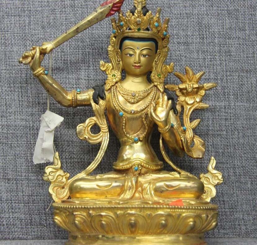 Tibet Pure Copper Bronze 24K Gold Kwan-yin Manjushri Manjuist Bodhisattva StatueTibet Pure Copper Bronze 24K Gold Kwan-yin Manjushri Manjuist Bodhisattva Statue
