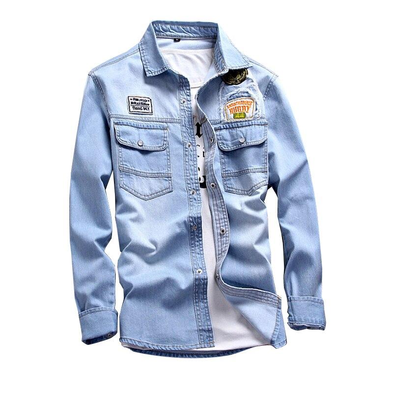 Cotton Mens Denim Shirts 3XL dark blue light blue Fashion Casual Men Long Sleeves Shirt Popular Comfortable Clothing LEFT ROM