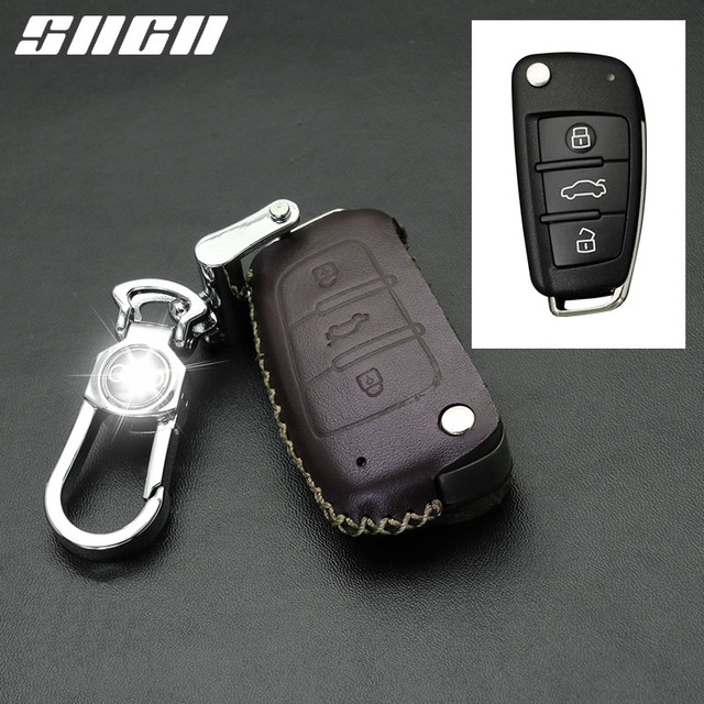 SNCN Genuine Leather Car Key Case For Audi A1 A2 A3 A4 A5 A6 A7 TT Q3 Q5 Q7 R8 S6 S7 S8 SQ5 RS5 Protector Covers Keychains