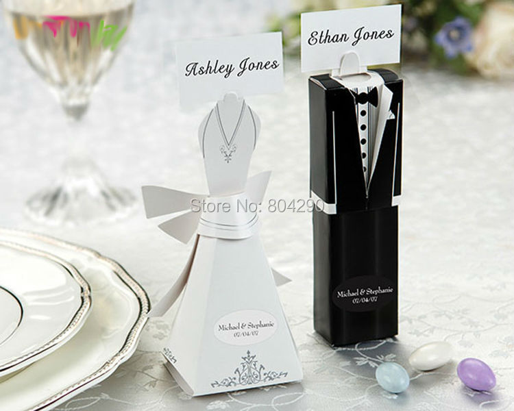 Black White Bridal Gift Cases Groom Tuxedo Dress Box Wedding Favor Party Supply And Candy 200 Pcs Free Shipping