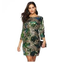 Fashion Green Silver leaf sequin dress women big size party dress round neck chic sexy Lady Luxury Evening carnival Party dresse