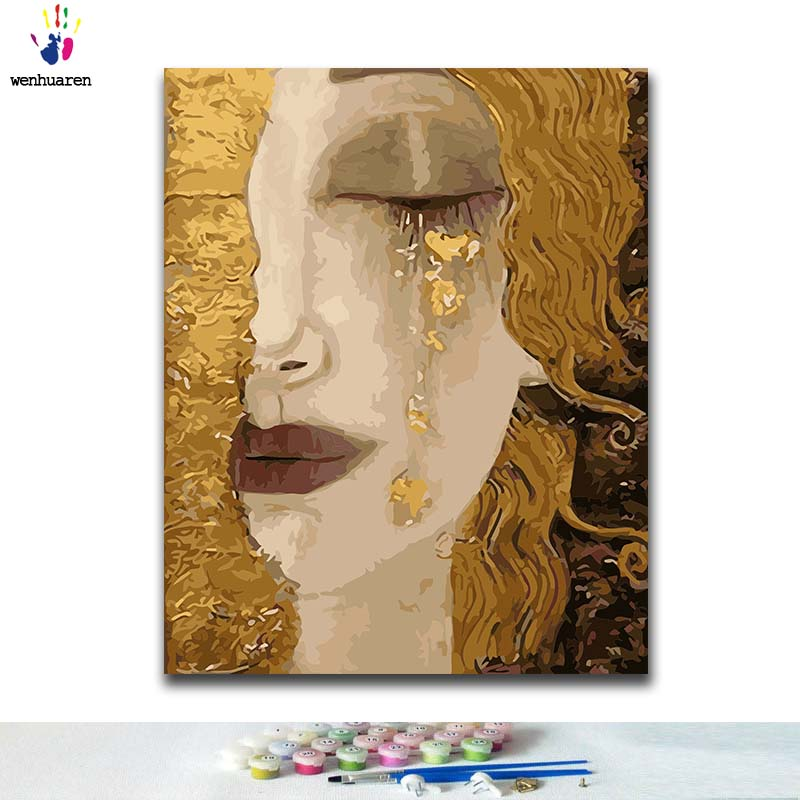 DIY Coloring Paint By Numbers Tearful Yellow-haired Woman Paintings By Numbers With Kits 40x50 Framed