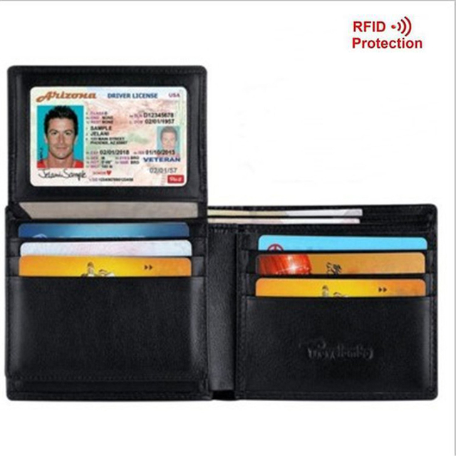 Antitheft Men's Wallet Slim Standard RFID Wallet Blocking Business Card Holders Purse Credit Card Wallet Men Portefeuille Homme