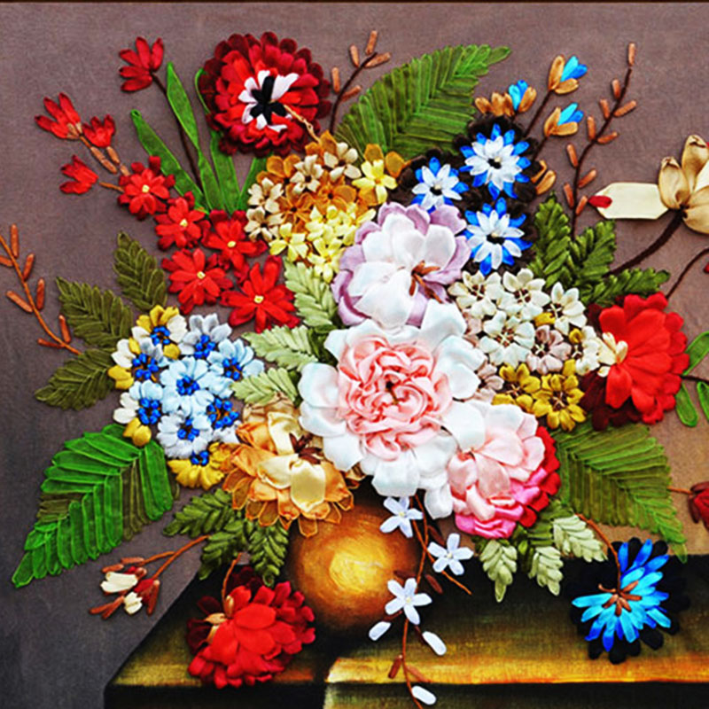 58X53cm Multi-colored flowers DIY 3d cross stitch kit needlework Unfinished Ribbon embroidery paintingtitching craft gift58X53cm Multi-colored flowers DIY 3d cross stitch kit needlework Unfinished Ribbon embroidery paintingtitching craft gift