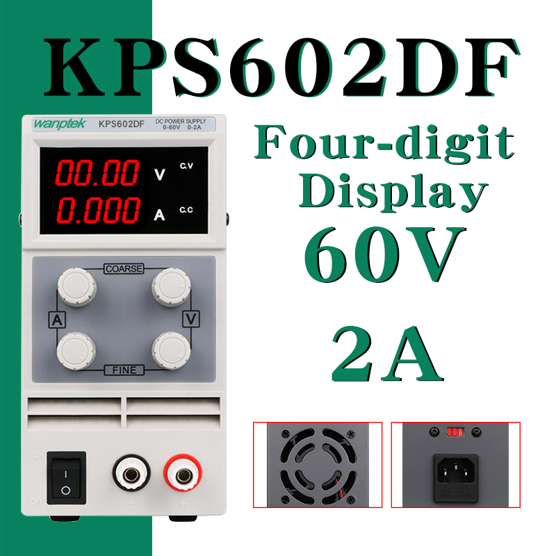 DC Power Supply KPS602DF Variable 60V 2A Adjustable Switching Regulated Power Supply Digital with Alligator Leads
