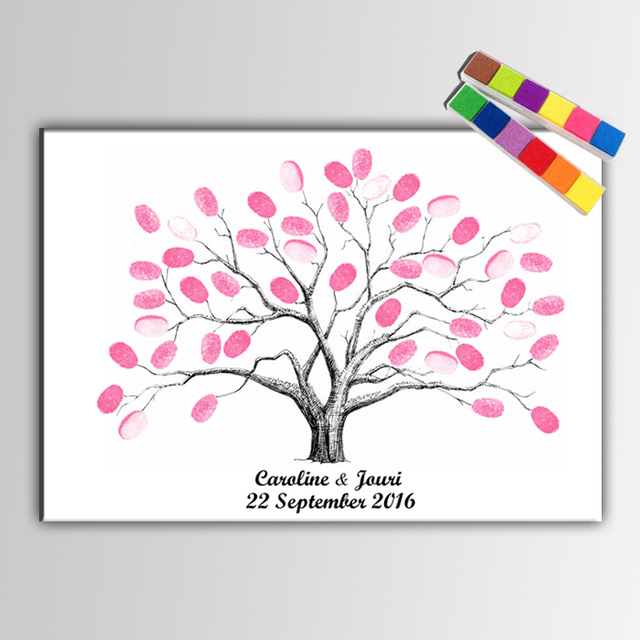 haochu canvas painting wedding tree fingerprint signature meaningful for wedding gift event bridal shower marriage decoration
